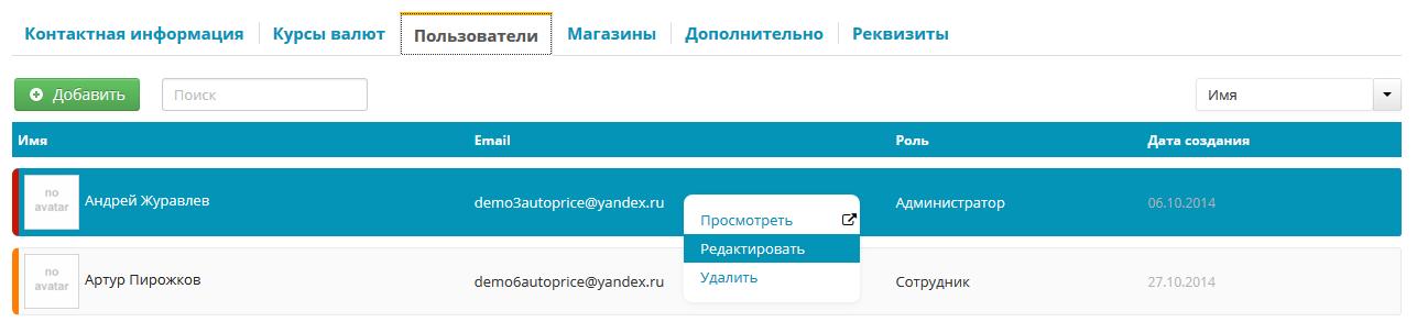 Список пользователей в B2B-системе Автопрайс24